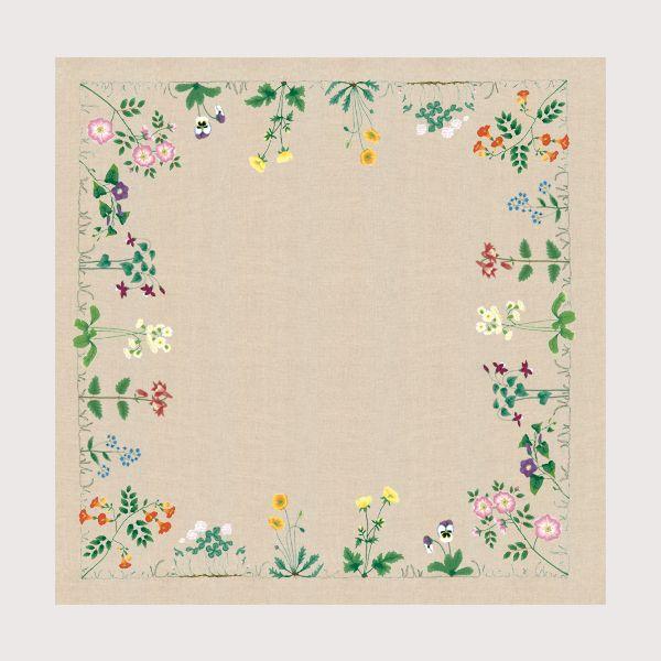 Nappe Frise de Fleurs réf. 6107 Le Bonheur des Dames nappe à broder de façon traditionnelle, toile imprimée
