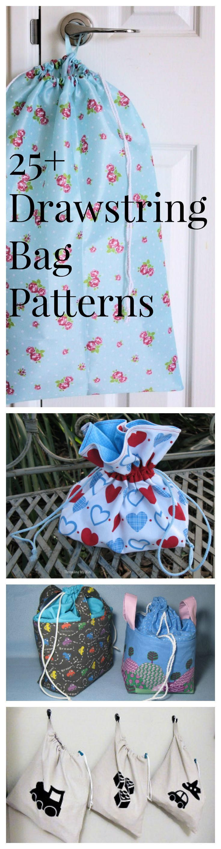 28 How to Make a Drawstring Bag Tutorials and Drawstring Bag Patterns