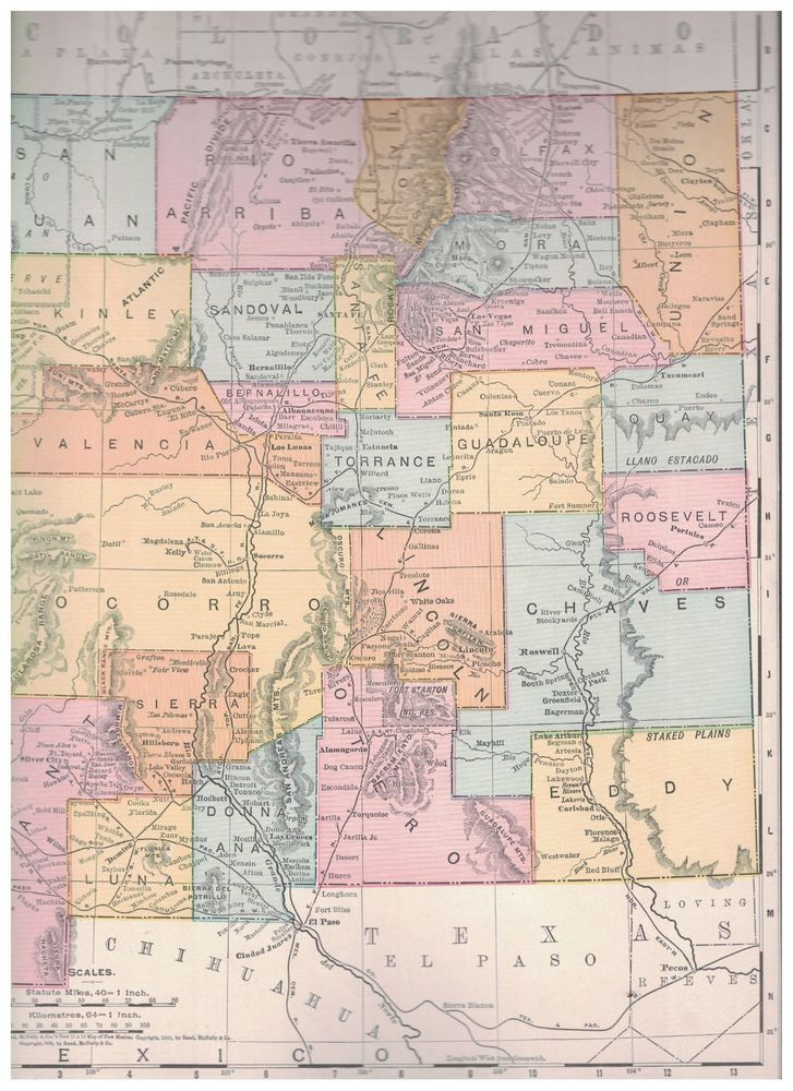 1906 Map of New Mexico Territory - Map of Arizona Territory On ...