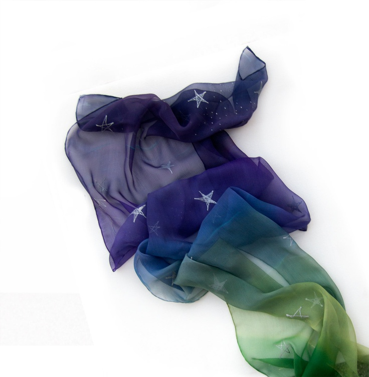 Hand painted silk scarf -OMBRE stars scarf- green to violet with silver stars-woman fashion.