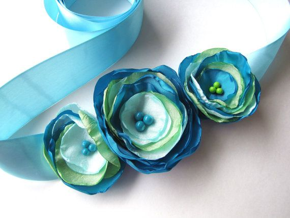 Bridal sash belt with handmade fabric flowers, floral belt, embellished sash for bride, silky satin fabric flower- BEACH WEDDING via Etsy