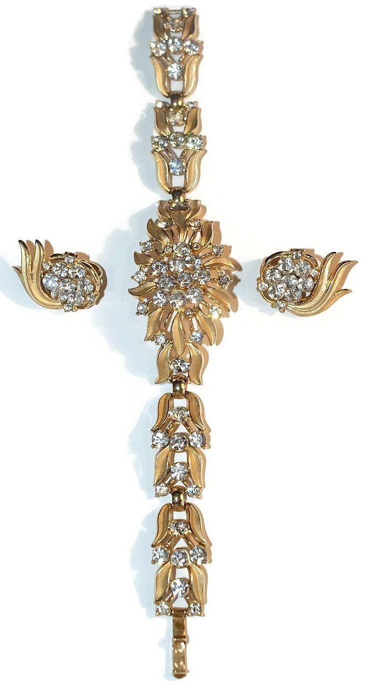 Trifari Floral Rhinestone Bracelet Earrings Set 1950's