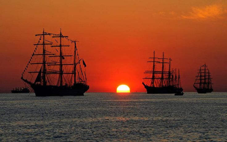 tall ships with sunset