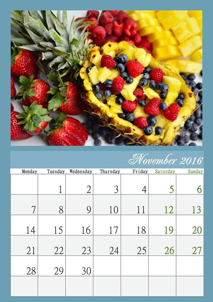 Looking for a perfect calendar? Make your own design with http://photo-calendar-software.com. and bring bright colors into gloomy November days! #MonthlyCalendar #WallCalendar