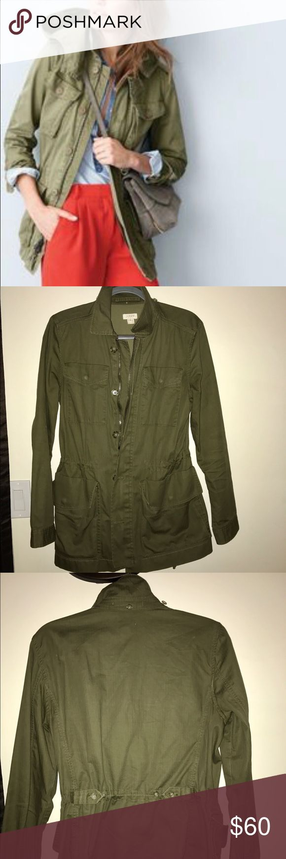 J Crew Utility/Military Jacket Olive green military jacket by JCrew, size M. Comes with detachable hood that you fasten at the collar. Drawstrings inside and buttons at back to cinch at the waist for a more tailored fit. 4 snap pockets on the front of the jacket. Full 2 way zip and buttons. Only worn a few times! Great piece for spring!! JCrew Jackets & Coats Utility Jackets