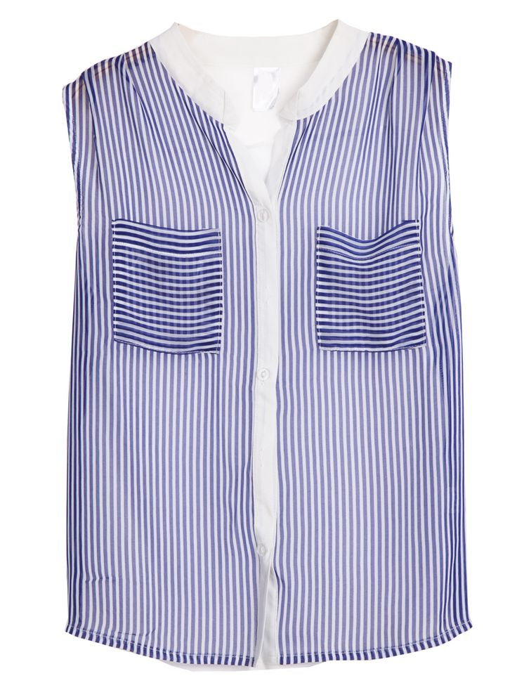 Blue Sleeveless Vertical Stripe Chiffon Blouse - Sheinside.com