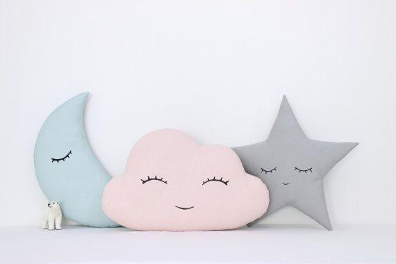 Conjunto de nubes, Luna y estrellas almohadas, los niños los niños de almohadas, cojines decorativos, salón Decor, lecho del bebé, menta, rosa, gris