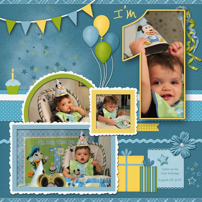 1st birthday scrapbooking layout