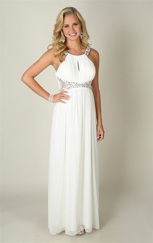 Long Dress with Stone Straps and Criss Cross Cutouts with Chunky Stone