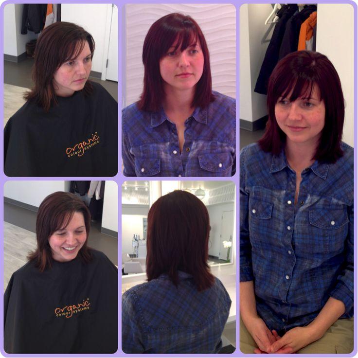 Mahogany brown, Mid-length hair, Sweep-to-the-side bangs, The Change Organic Hair Salon, www.thechangehairsalon.com