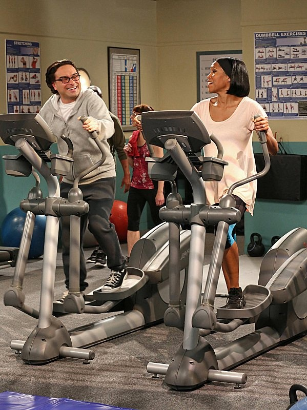 Still of Regina King and Johnny Galecki in The Big Bang Theory The Tenure Turbulence