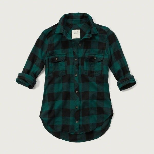 Abercrombie & Fitch Plaid Twill Shirt ($35) ❤ liked on Polyvore featuring tops, green check, green plaid shirt, plaid button down shirt, plaid button up shirts, red checkered shirt and red top