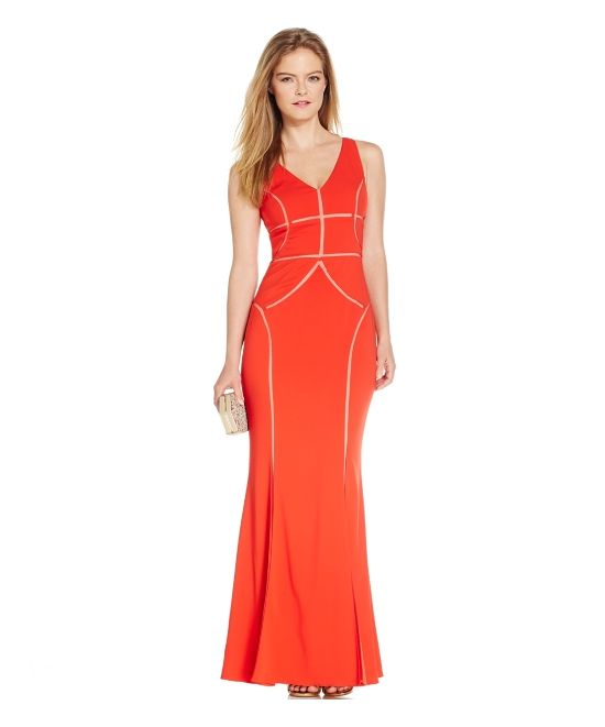 Js Collections Mesh-Cutout V-Neck Gown - was $279.0, now $236.99 (15% Off) @ Macys