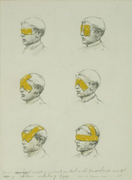 Michael Borremans, Various ways of avoiding visual contact with the outside world using yellow isolating tape