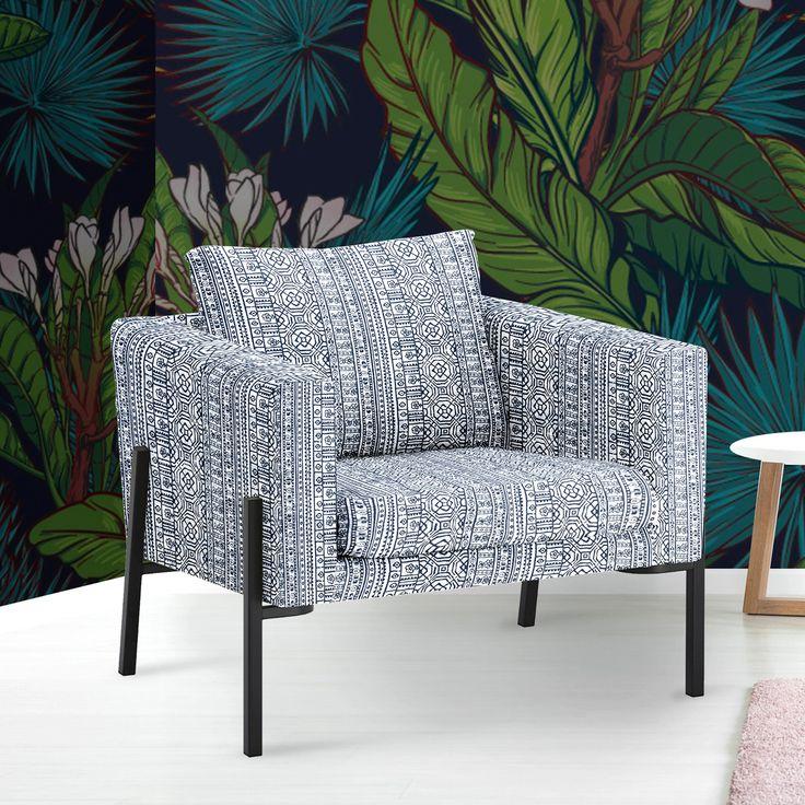 IKEA KOARP Armchair Cover, Navy Blue Tribal Print in 2020