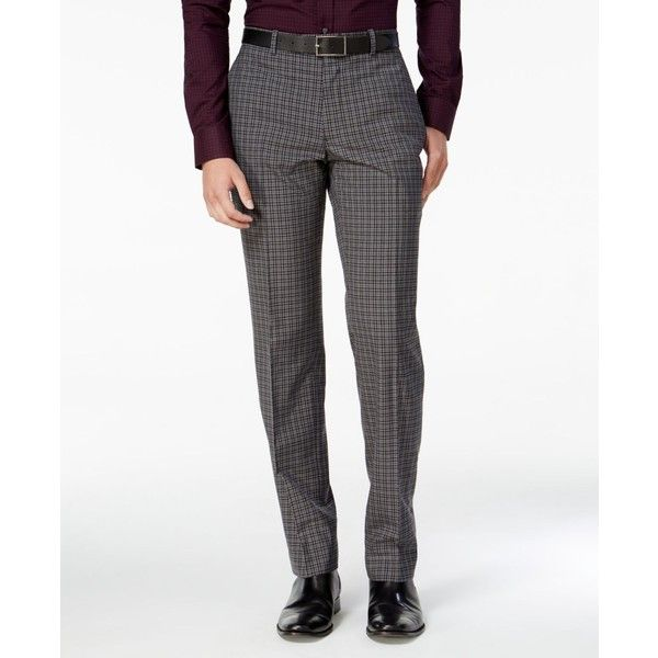 Bar Iii Men's Slim-Fit Charcoal Check Dress Pants, ($100) ❤ liked on Polyvore featuring men's fashion, men's clothing, men's pants, men's dress pants, grey, mens gray pants, mens slim fit suit pants, mens slim dress pants, mens slim pants and mens checkered pants