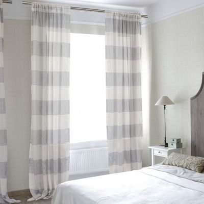 Lite Out Cabana Linen Stripe Sheer Curtain Panel Color: