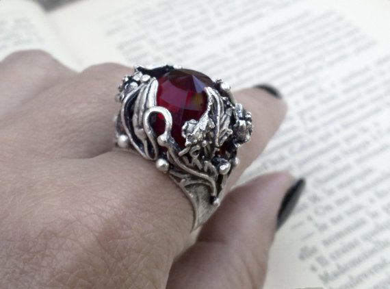 Gothic Ring Garnet Red Ring by ApplebiteJewelry