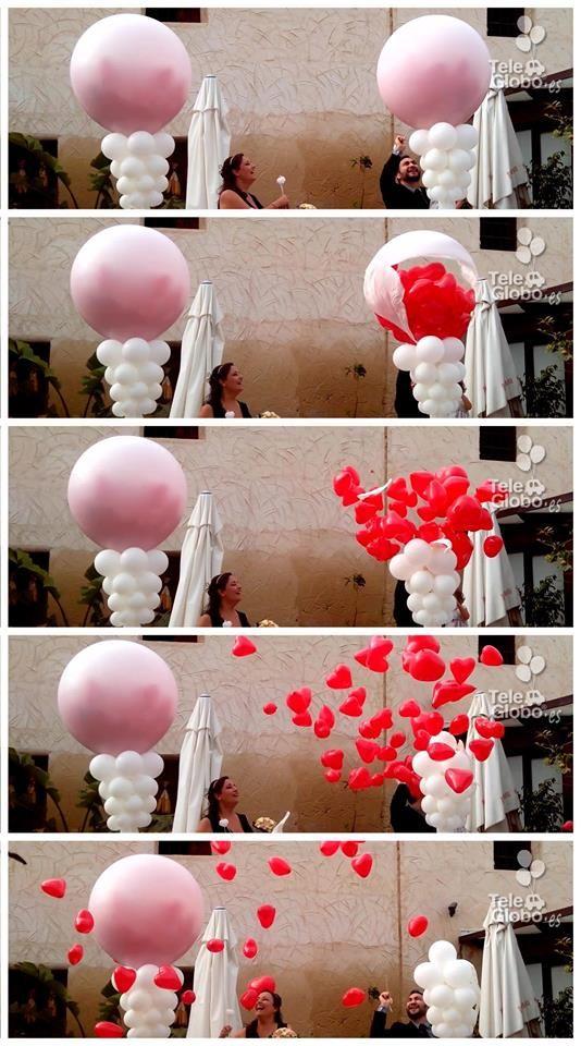 Explosi n de globos con suelta de corazones decoraciones - Decoracion bodas con globos ...