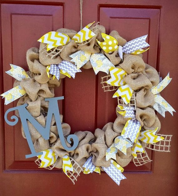 Yellow & Gray Burlap Initial Wreath by burlaphavenwreaths on Etsy