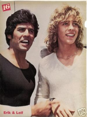 Erik Estrada with Leif Garrett on the CHIPS set