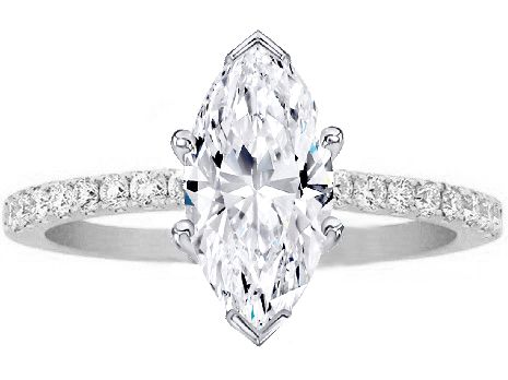 Engagement Ring - Marquise Shape White Gold Diamond Engagement Ring Pave Band - ES1035MQWG