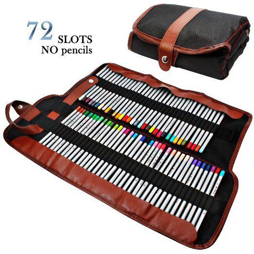 AFUNTA matite Holder, 72 matite assortiti colore Organizzatore, arrotolare lavabile della tela di canapa sacchetto della matita per la scuola Office Art ect.