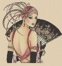 Cross stitch chart Art Deco Lady 11. FlowerPower37-UK
