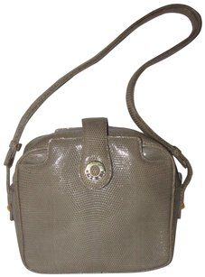 7700b1913d61 Gucci Rare Early Lots Of Room Pockets Cross Body Shoulder In Satchel in  honey brown lizard skin leather