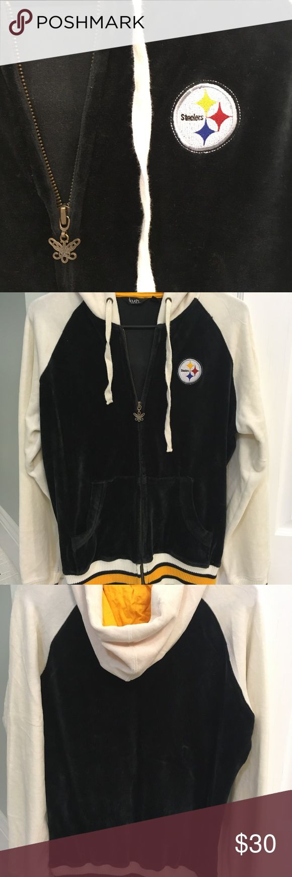 Pittsburgh Steelers zip up hoodie jacket Steelers zip up hoodie jacket. Velour type material, very nice condition, worn only a few times. Size large women's. Tops Sweatshirts & Hoodies