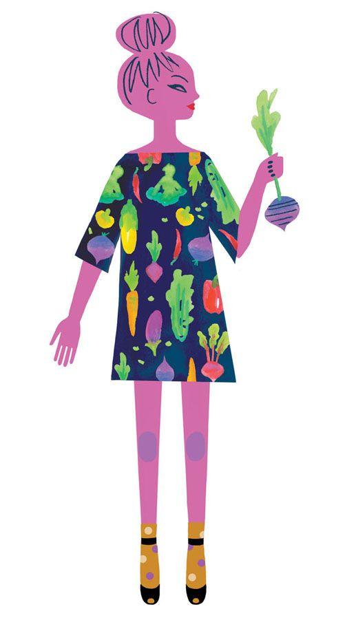 Inspired by Gorman's Winter Harvest dress. Drawn by Neryl Walker.