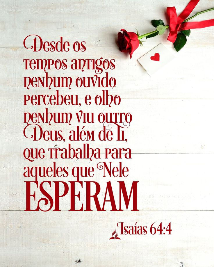 Confia e espera em Deus... Ele nunca nos decepcionará!