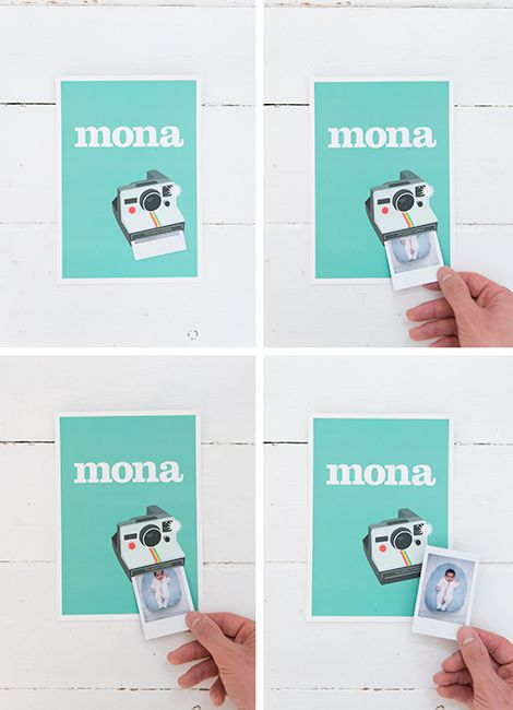polaroid birth card - blog is in another language but this is too cute! I would love the card to have a bit more then just  name but I love the idea of pulling out a photo for friends and family. Interesting way and the picture would be different for everyone!