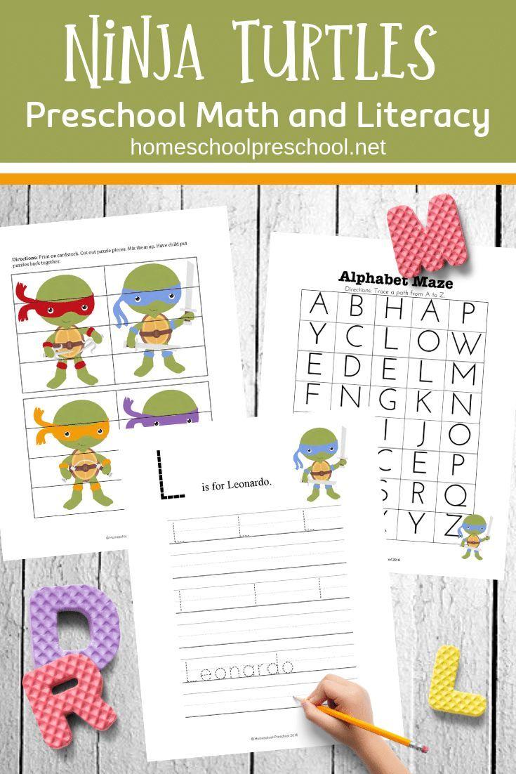 Free Ninja Turtle Printables For Preschool And Kindergarten Free Preschool Printables Math Activities Preschool Ninja Turtles Printables [ 1102 x 735 Pixel ]