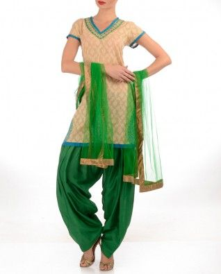 #Exclusivelyin beige and emerald green Punjabi suit, patiala salwar, damask