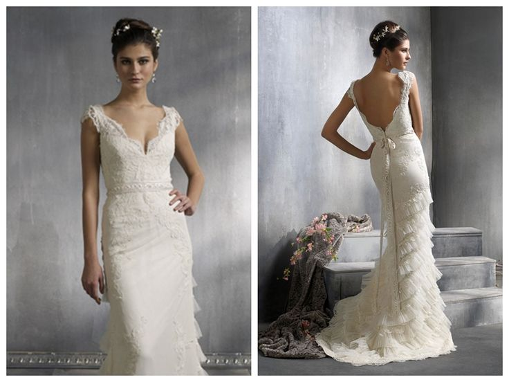 Lithe Style V-neck Sheath Lace Court Train Wedding Dresses with Cap Sleeves