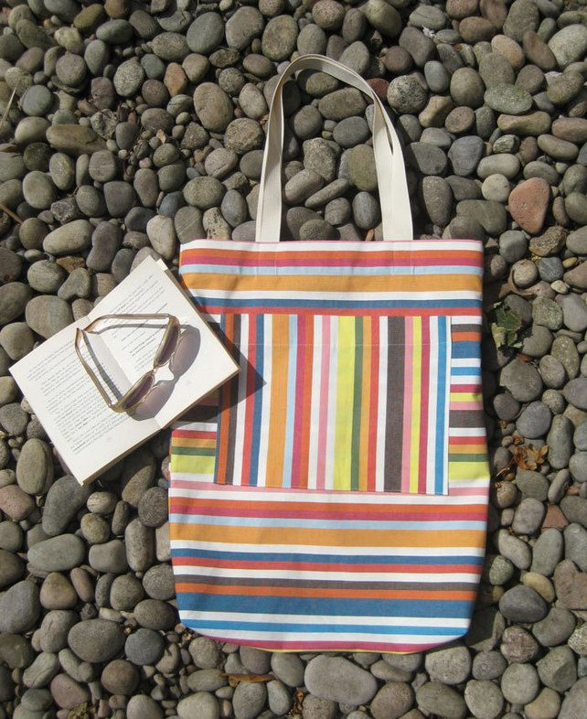 Large, bright stripe cotton bag. One of a kind. £34.00