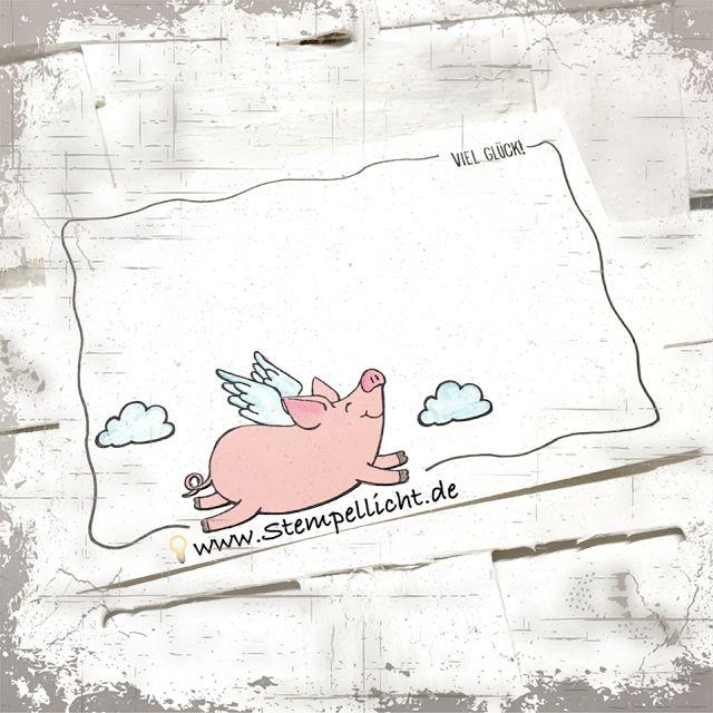 Glücksschweinchen mit Doodle-Rand...Stempelset von Stampin Up