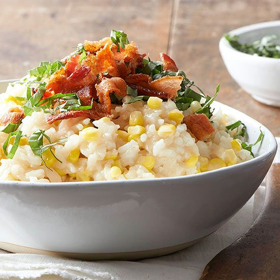 Sweet corn risotto with bacon. Gluten free