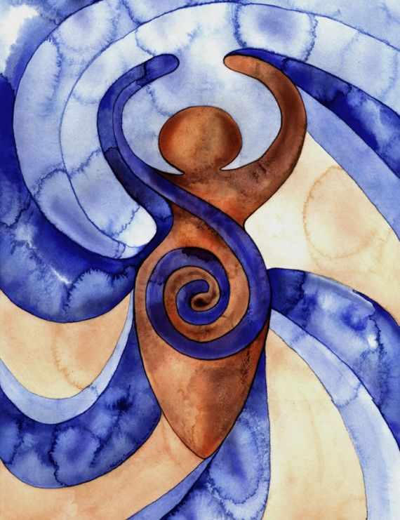 The Spiral Goddess The spiral is one of the oldest and most widely acknowledged of the sacred symbols, representing the life force, the path in which energy moves and the creative power in each of us. Spiral Goddess Watercolor by thekreations