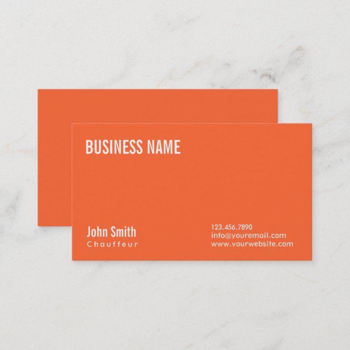 Simple Plain Orange Chauffeur Business Card Zazzle Com Printing Business Cards Personal Business Cards Business Cards