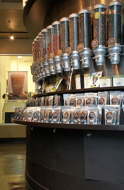 Loose tea dispensers at Argo Tea, at the corner of Dearborn and Madison, in Chicago, IL