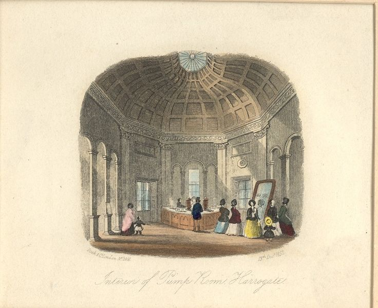 The interior of the pump room in 1852. The counter for serving the water was to one side of the room. This counter was replaced in the 1880s. Notice the large mirror provided so visitors could admire the ceiling plasterwork without hurting theirs necks.