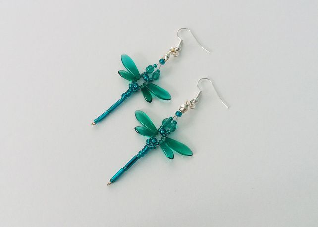 Beaded Dragonflies Earrings – Teal or Aqua £10.00