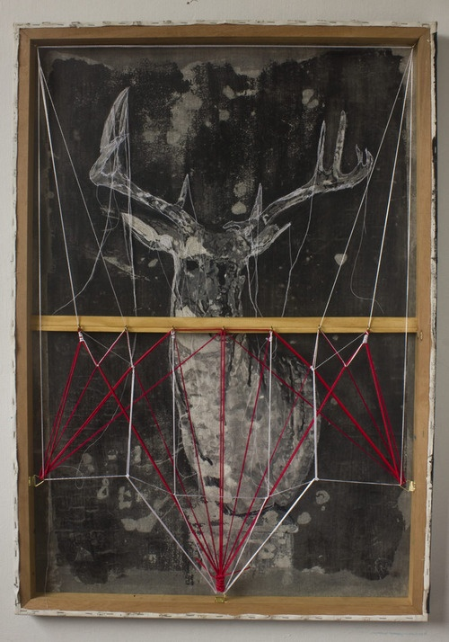 Andre Azevedo. Com Vista Para o Campo. Acrylic and embroidery on canvas, twine on wooden frames, 70 x 100 cm.