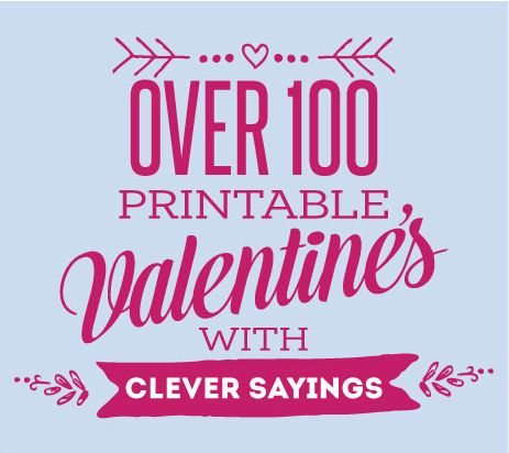 Over 100 printable Valentines cards with cute and clever sayings. #print #valentinesday skiptomylou.org