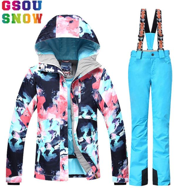 Lucky Deal $142.19, Buy GSOU SNOW Ski Suit Women Skiing Jacket Snowboard Pants Winter Waterproof Outdoor Cheap Ski Suit Ladies Sport Clothing 2017 Coat