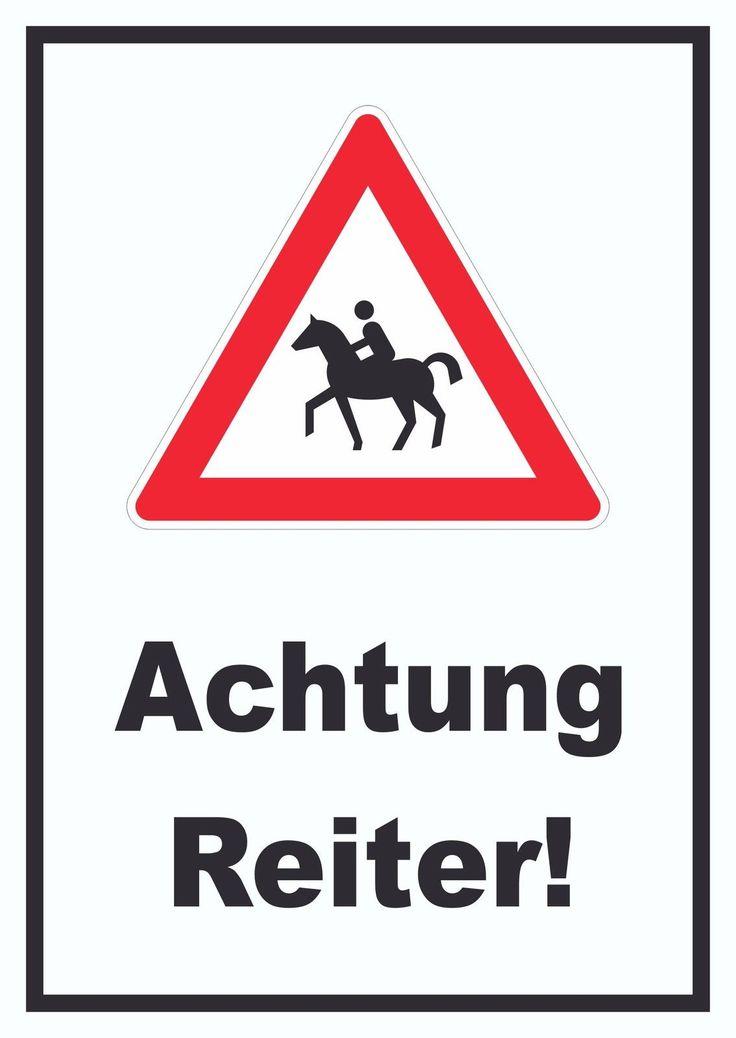 warnschild achtung reiter schild warnung reiter pferde kfz boot und verkehr pinterest. Black Bedroom Furniture Sets. Home Design Ideas
