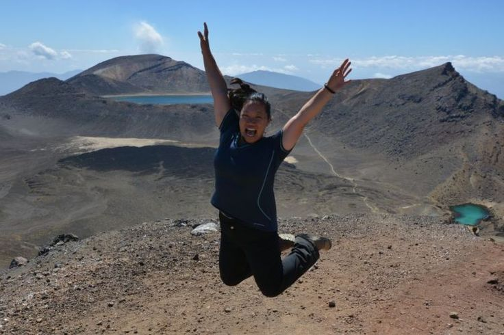6. Joyce jumping for joy on the Tongariro Crossing.