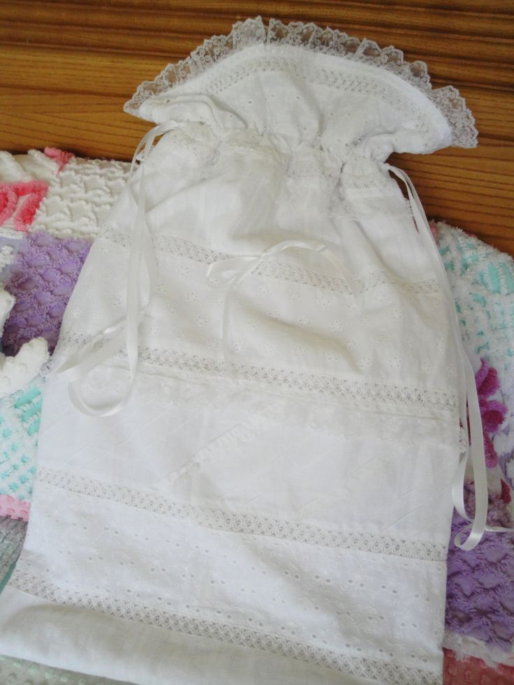 Lovely White Lingerie, Storage Or Laundry Bag, Lace, Ribbons, Ribbon  Drawstring,